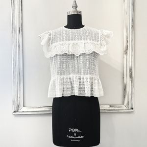 Zara Cottage Country Chic Embroidered Floral Top